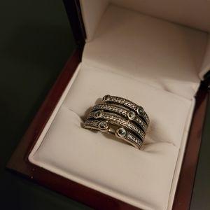 Pandora 925 silver, CZ, thick ring